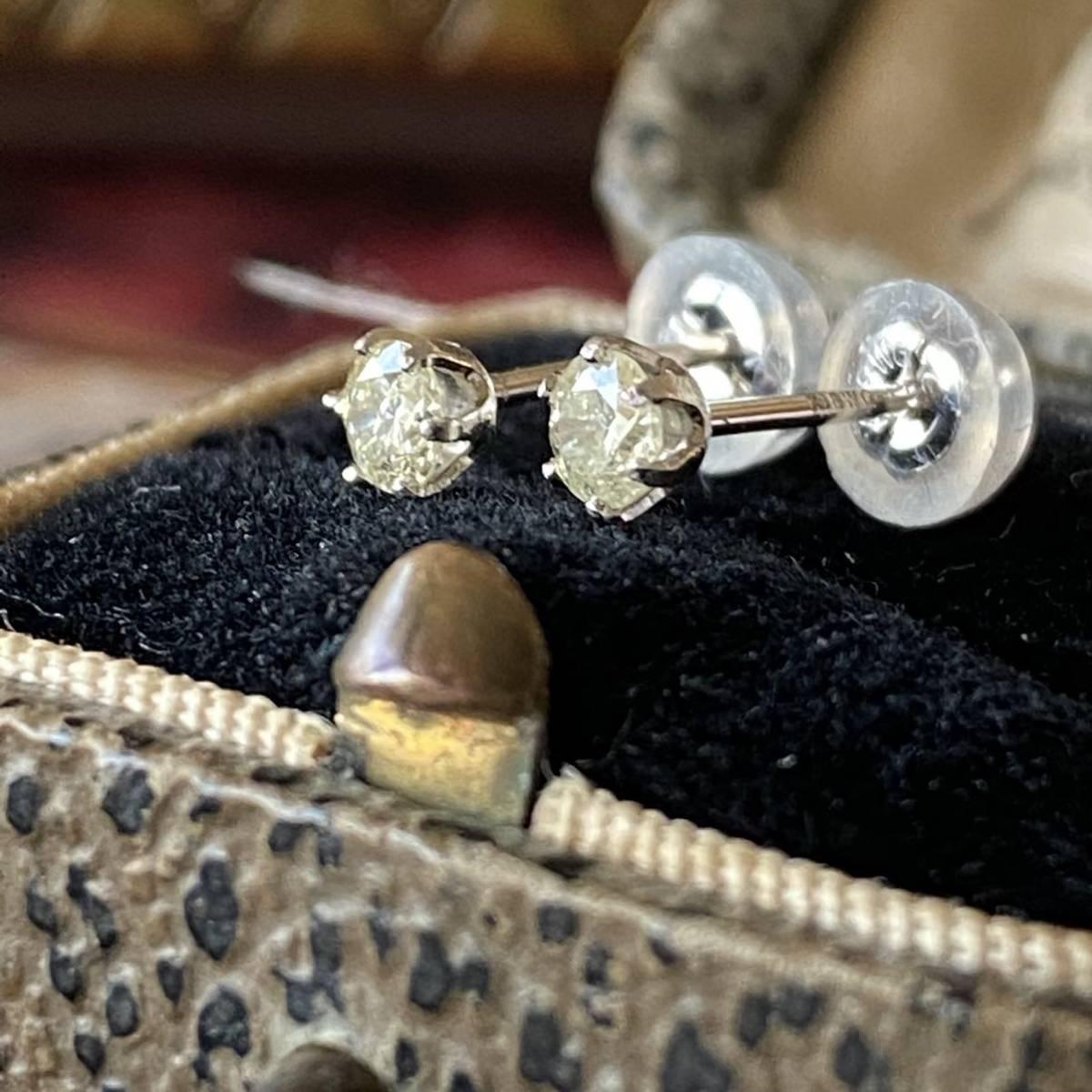 イエローダイヤモンド 1粒ピアス 18金ホワイトゴールド レモンイエロー 送料無料_画像2