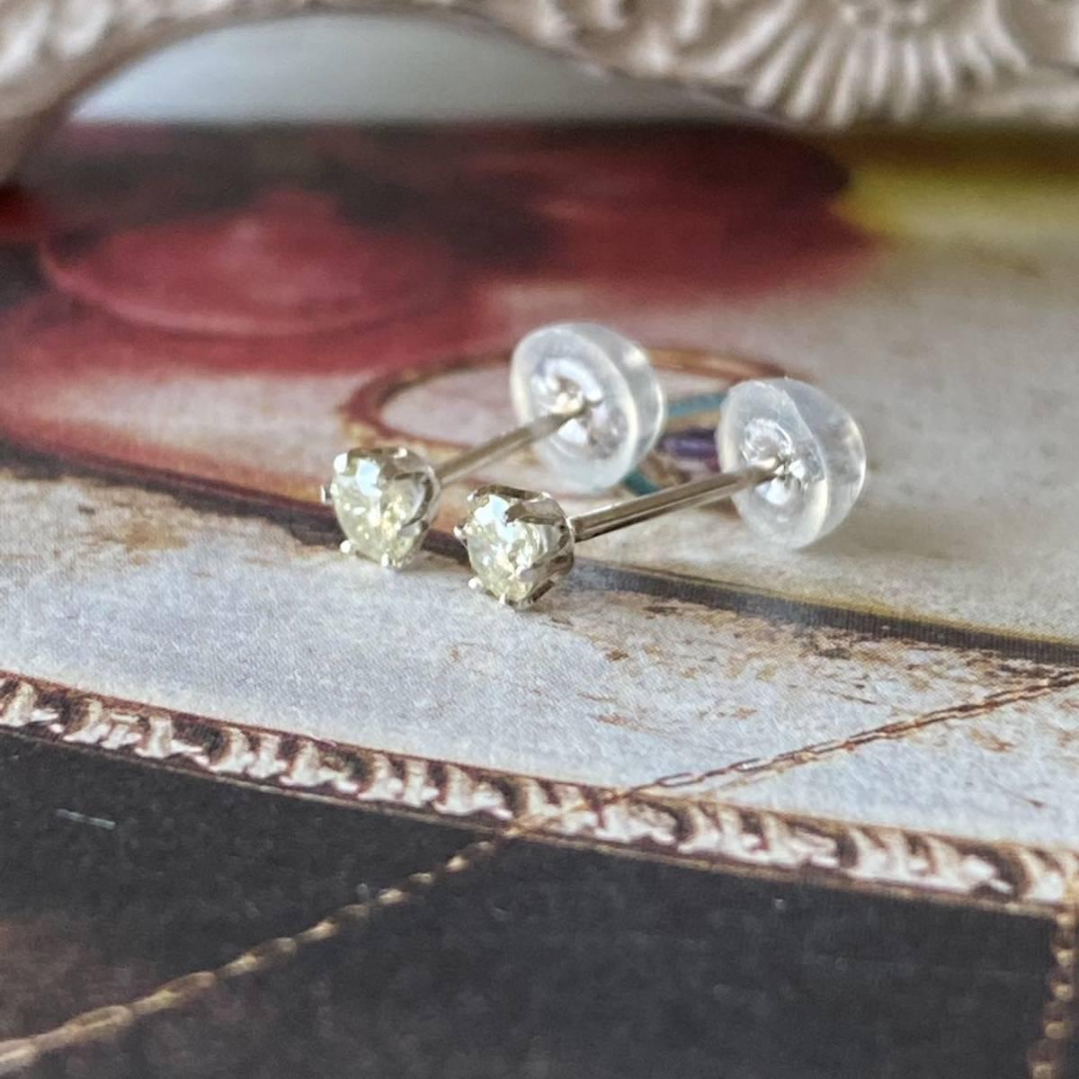 イエローダイヤモンド 1粒ピアス 18金ホワイトゴールド レモンイエロー 送料無料_画像8