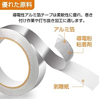 導電性アルミ箔テープ 20M 導電 強粘着 アルミ箔粘着テープ 静電気除去EMC対策テープ 25mm幅 x 20m長さ_画像4