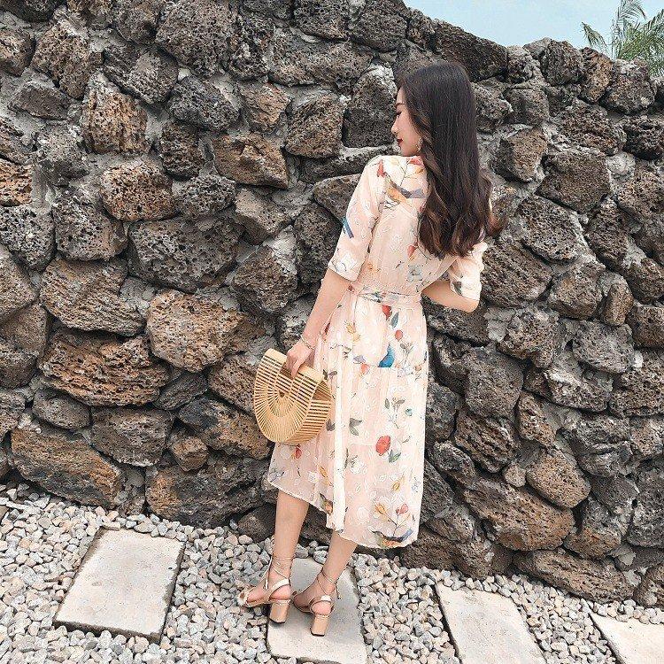 ワンピース レディース 40代 春夏 マキシ丈ワンピース きれいめ 大きいサイズ 花柄ドレス シフォン 結婚式 リボン オシャレ 着痩せ