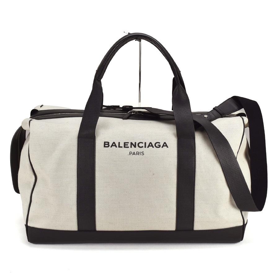 バレンシアガ BALENCIAGA 2WAY ボストンバッグ 392010 キャンバス レザー アイボリー ブラック 黒 ロゴ 旅行 レディース メンズ 中古_画像1