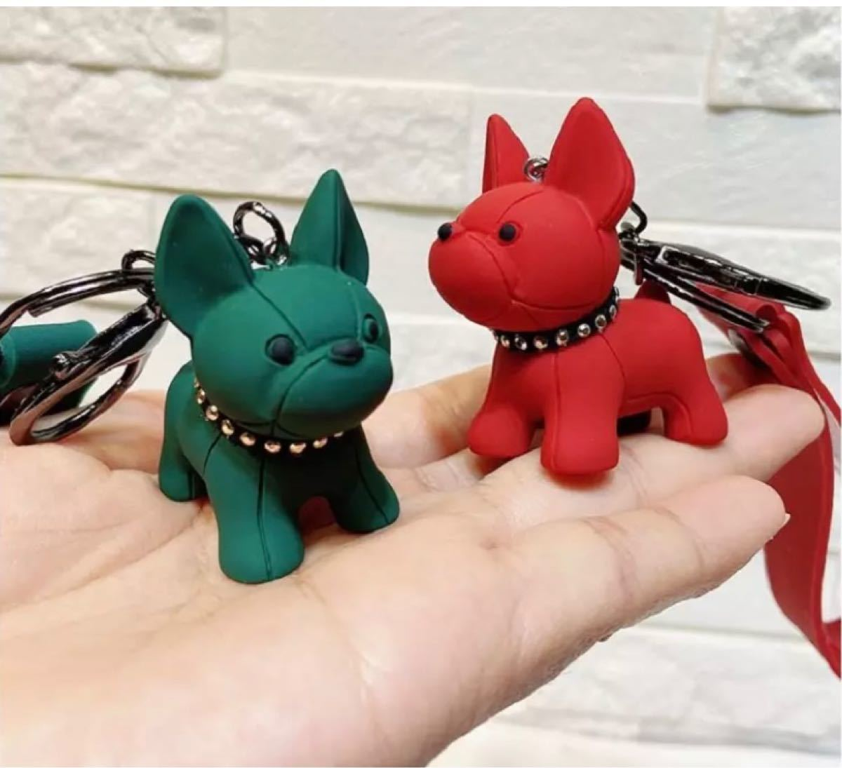 犬のキーホルダー/ギフト・プレゼント/革キーリング/深い赤色 キーチェーン
