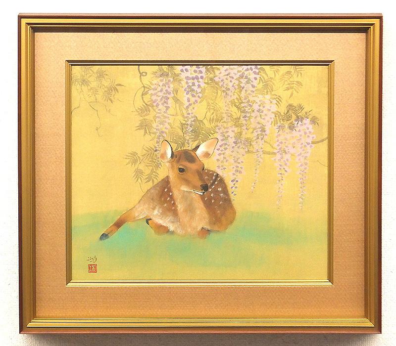 【GLC】林功 「暖春」 日本画10号共シール 院展特待 夭折天才画家 ◆絹本描きの逸品!