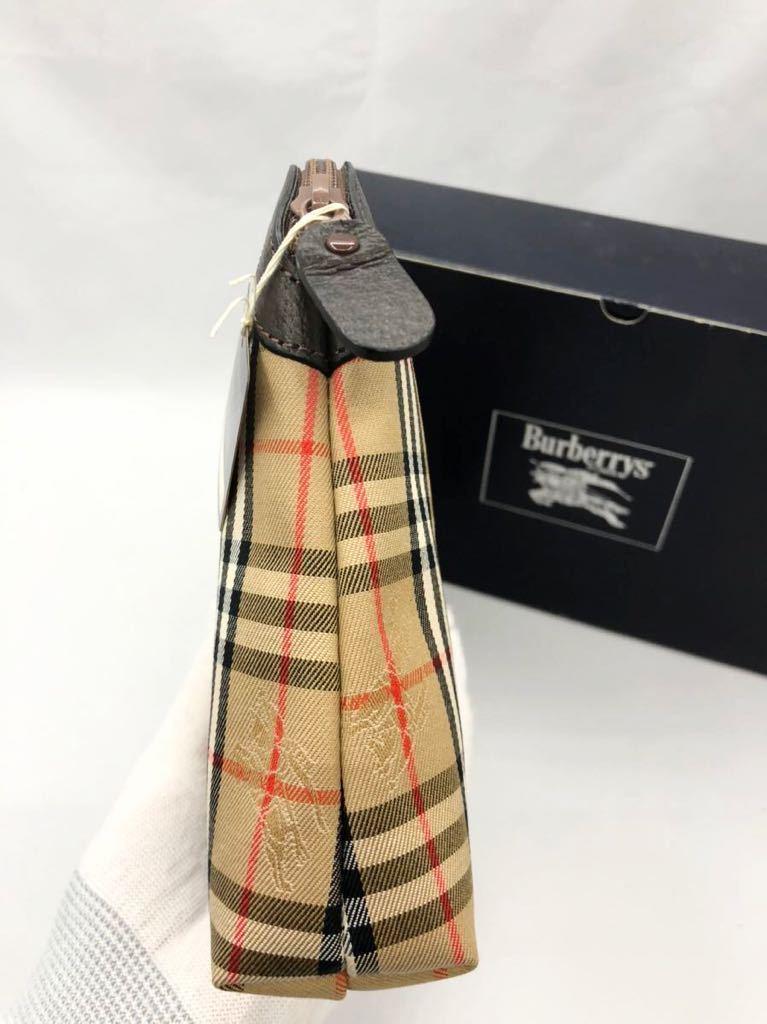 バーバリー 化粧ポーチ ダークブラウン×チェック 未使用品 マルチケース レディース カバン BURBERRY セカンドバッグ ポーチ