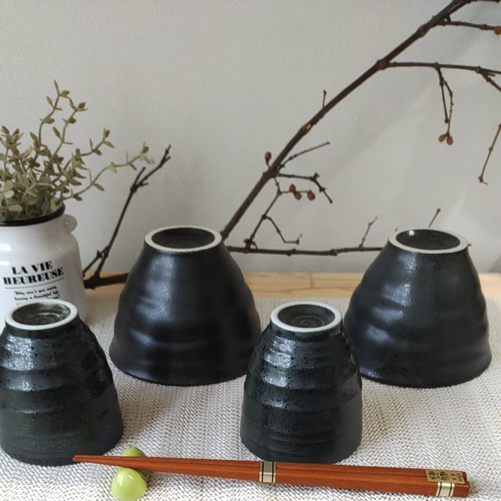 【即購入可】新品 黒褐色モダン 多用丼  焦げ茶 美濃焼 4個セット