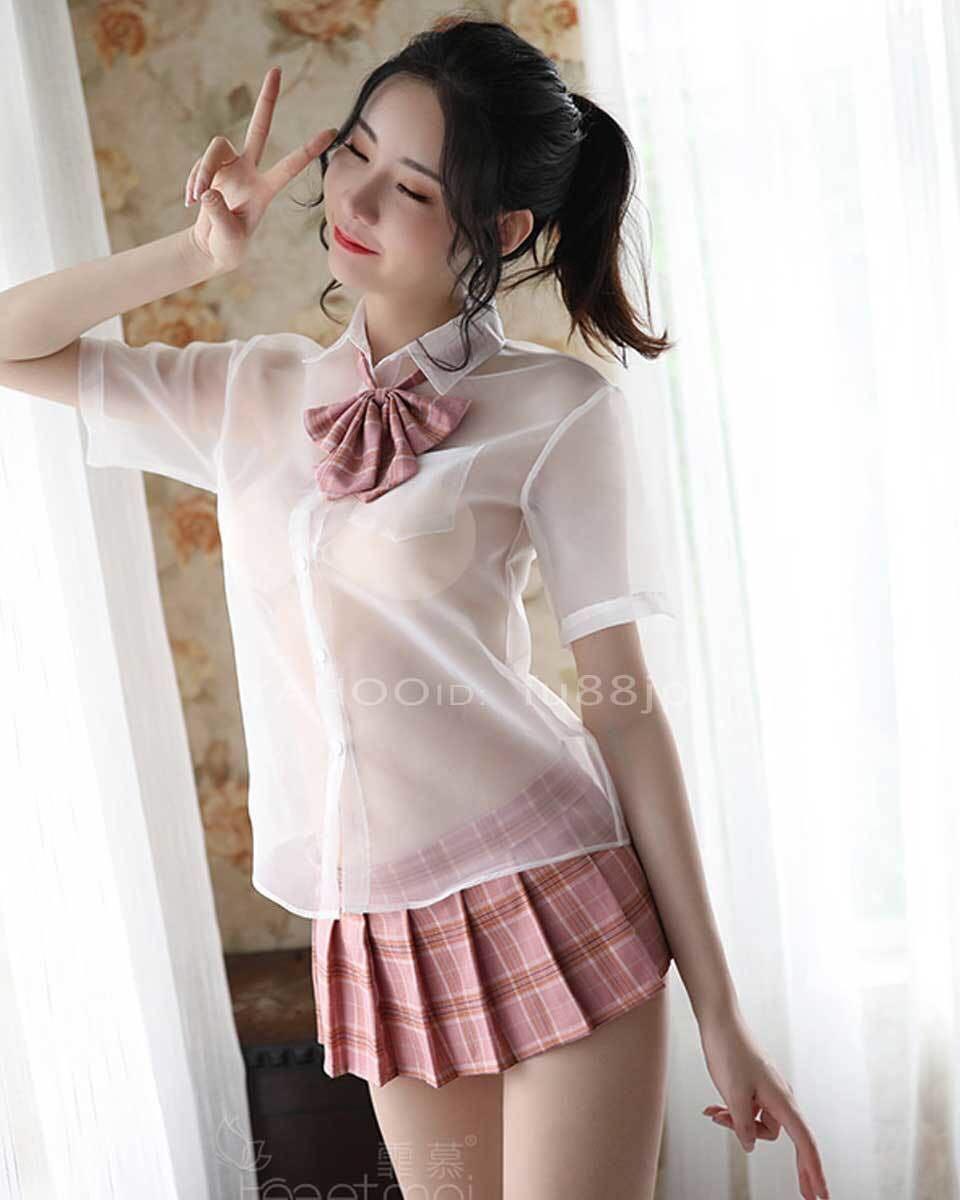 エロ可愛い 女子校生 コスプレ ランジェリー シースルー 学生 スクール 女子高生 制服 ベビードール ミニスカ