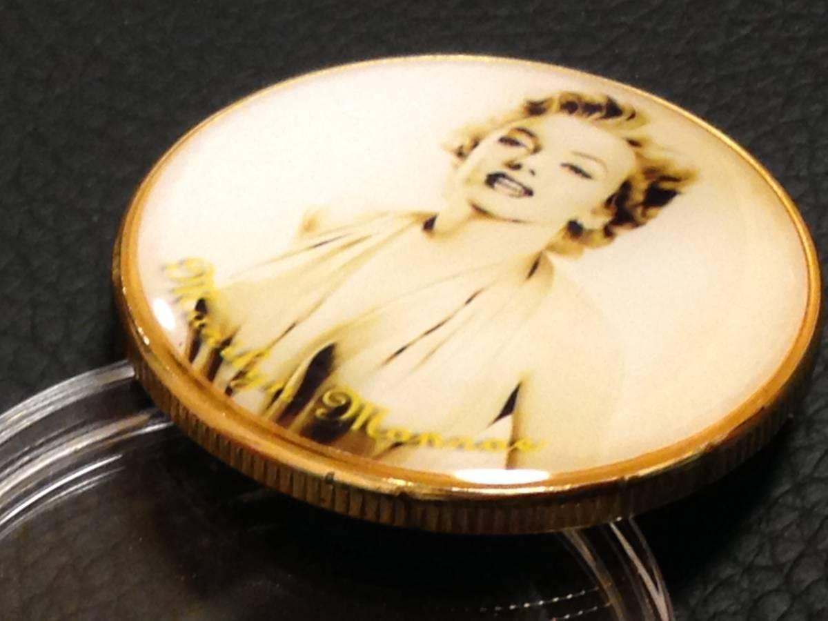 E62)海外丸形記念金貨、カラーコイン、メダル*アメリカスパースターマリリン・モンロー*参考品1枚 セクシー ノーマジーン_画像2