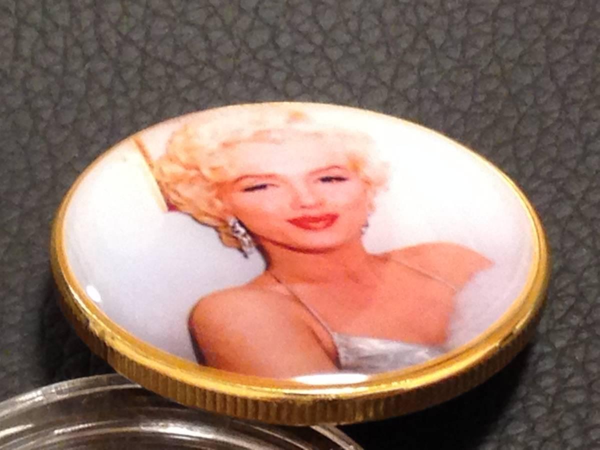 D85)海外丸形記念金貨、カラーコイン、メダル*アメリカスパースターマリリン・モンロー*参考品1枚 セクシー ノーマジーン_画像2