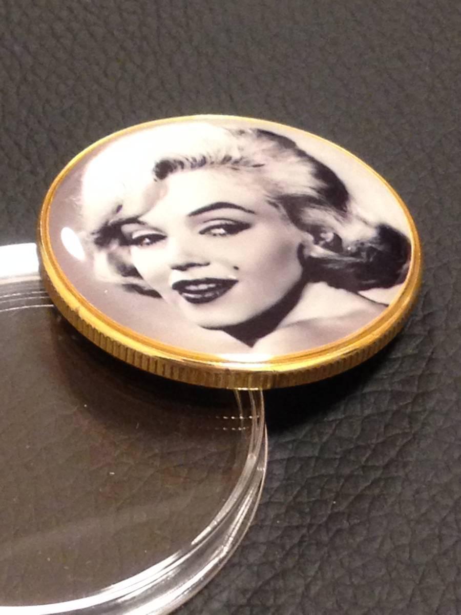 C61)海外丸形記念金貨、カラーコイン、メダル*アメリカスパースターマリリン・モンロー*参考品1枚 セクシー ノーマジーン_画像2