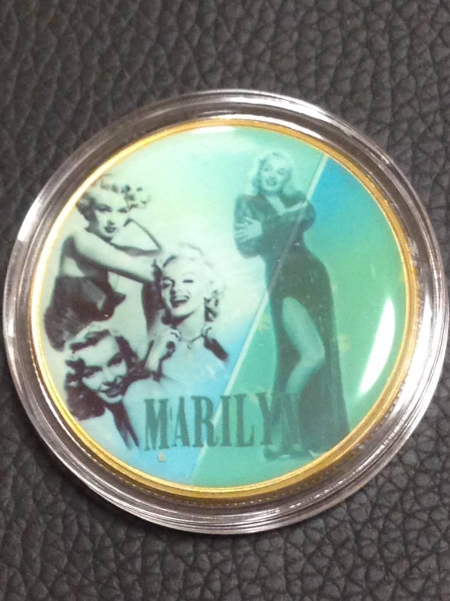 C45)海外丸形記念金貨、カラーコイン、メダル*アメリカスパースターマリリン・モンロー*参考品1枚 セクシー ノーマジーン_画像1