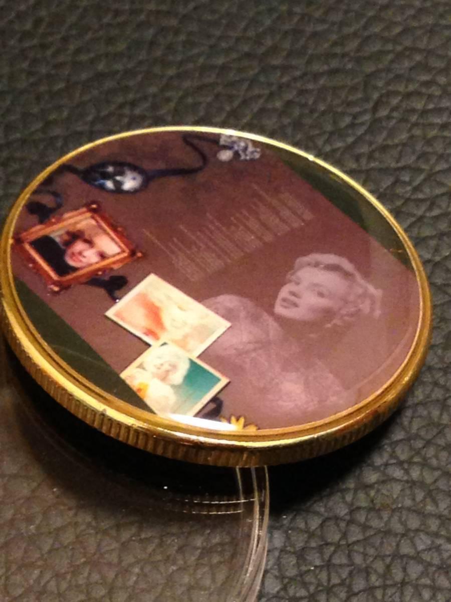 C17)海外丸形記念金貨、カラーコイン、メダル*アメリカスパースターマリリン・モンロー*参考品1枚 セクシー ノーマジーン_画像2