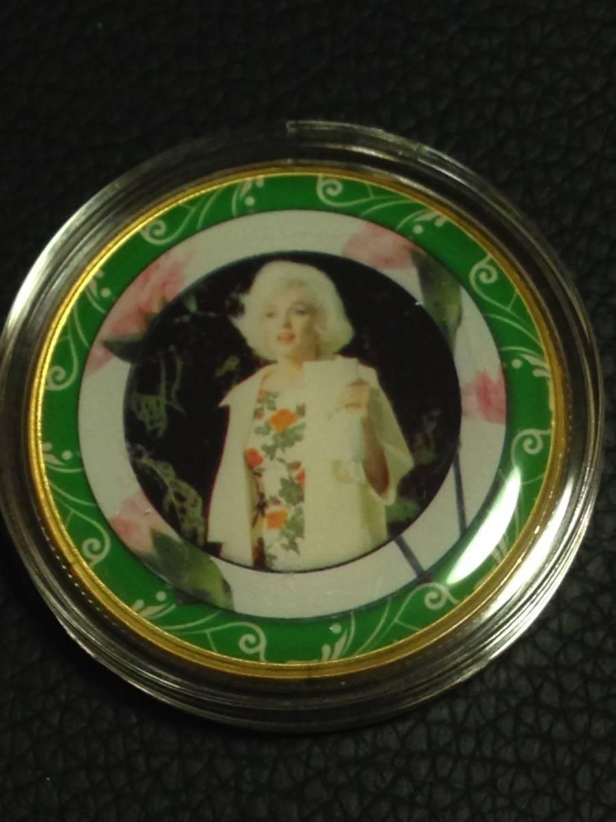 D7)海外丸形記念金貨、カラーコイン、メダル*アメリカスパースターマリリン・モンロー*参考品1枚 セクシー ノーマジーン_画像1
