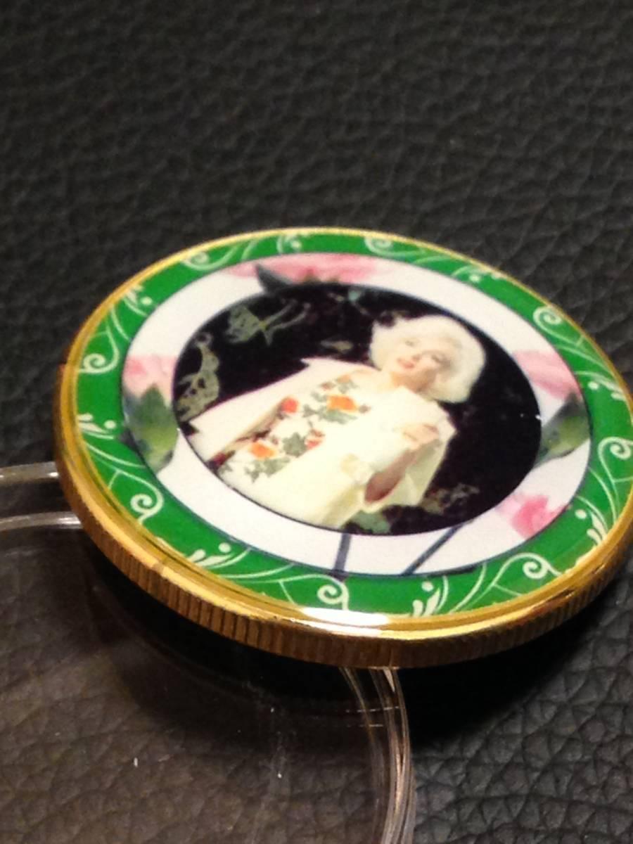 D7)海外丸形記念金貨、カラーコイン、メダル*アメリカスパースターマリリン・モンロー*参考品1枚 セクシー ノーマジーン_画像2