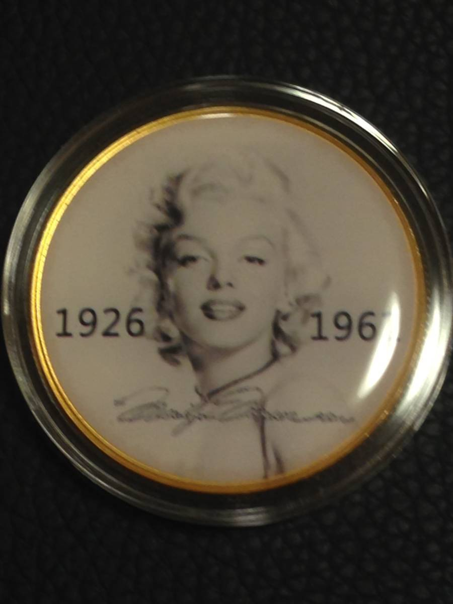 F8)海外丸形記念金貨、カラーコイン、メダル*アメリカスパースターマリリン・モンロー*参考品1枚 セクシー ノーマジーン_画像1