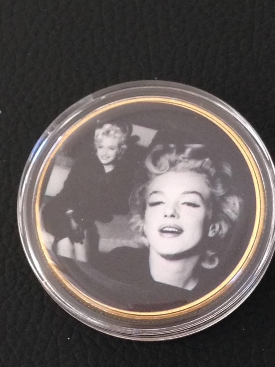 D37)海外丸形記念金貨、カラーコイン、メダル*アメリカスパースターマリリン・モンロー*参考品1枚 セクシー ノーマジーン_画像1