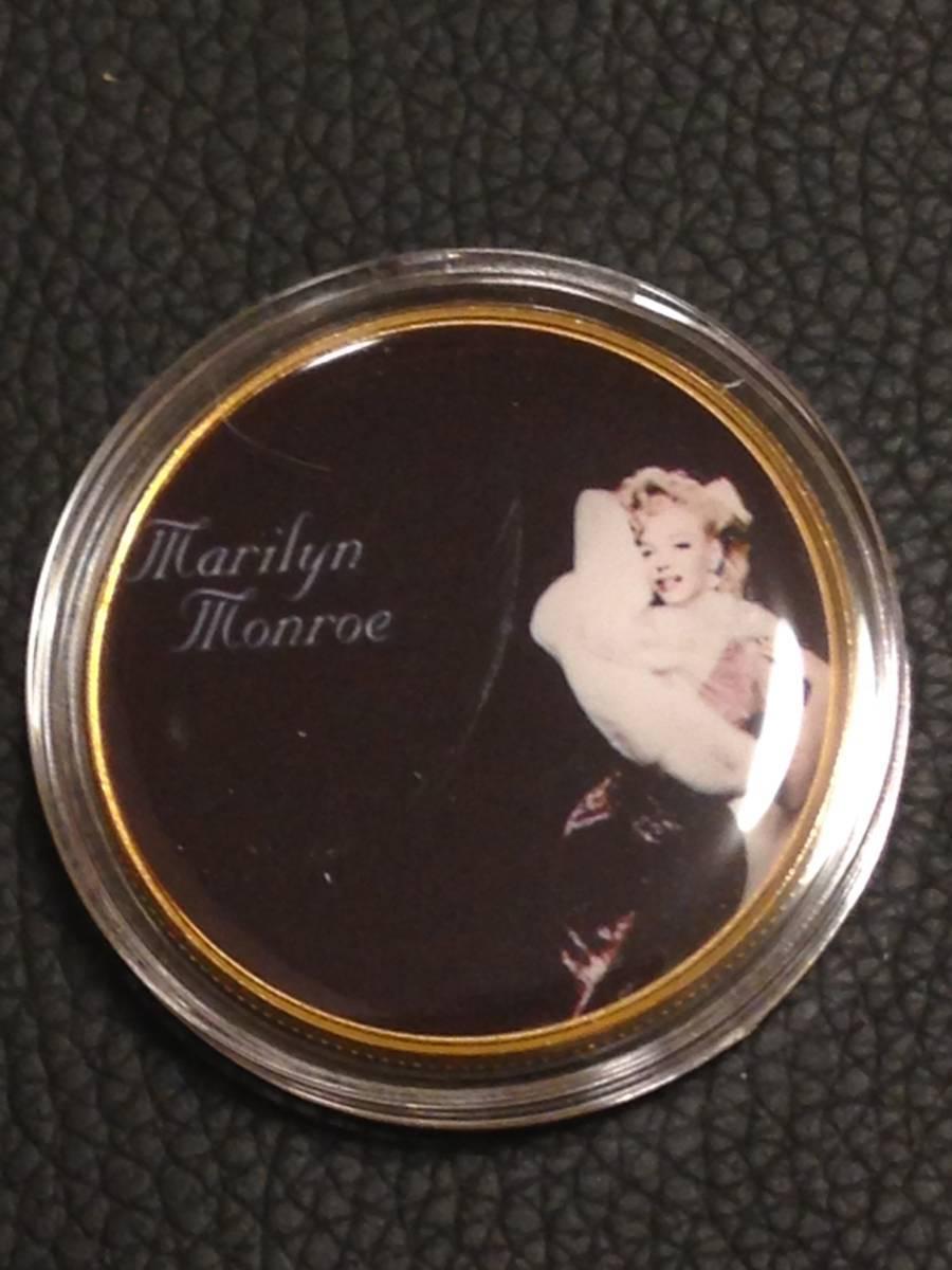 D41)海外丸形記念金貨、カラーコイン、メダル*アメリカスパースターマリリン・モンロー*参考品1枚 セクシー ノーマジーン_画像1