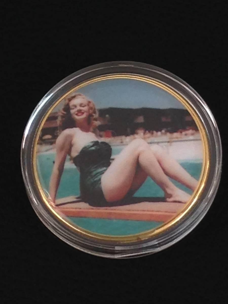 D42)海外丸形記念金貨、カラーコイン、メダル*アメリカスパースターマリリン・モンロー*参考品1枚 セクシー ノーマジーン_画像1