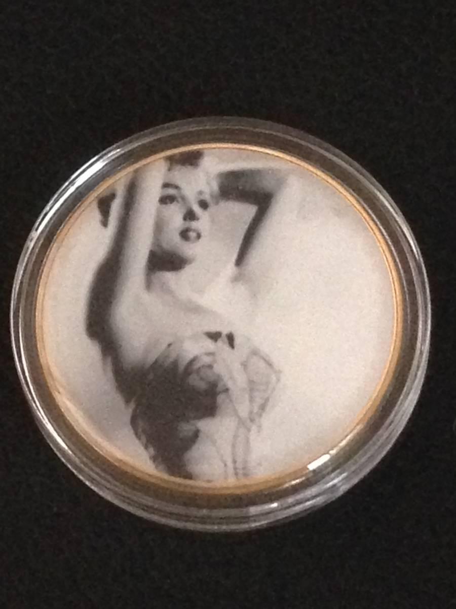 C3)海外丸形記念金貨、カラーコイン、メダル*アメリカスパースターマリリン・モンロー*参考品1枚 セクシー ノーマジーン_画像1