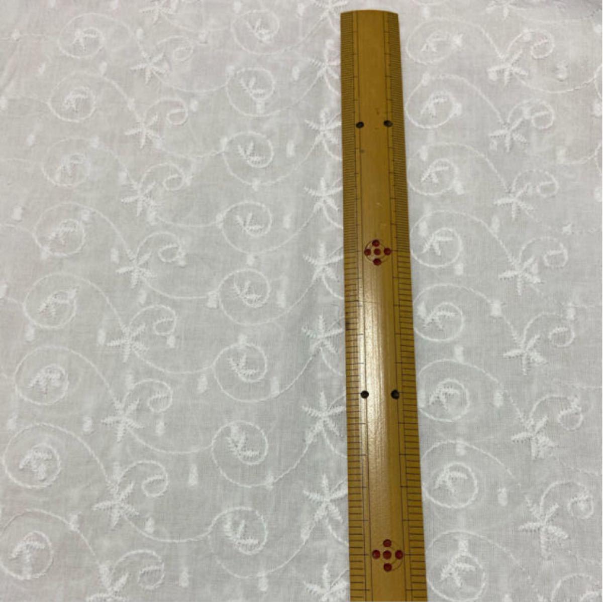 コットンレース 刺繍 綿レース 50×50cm 綿100%  白 綿生地
