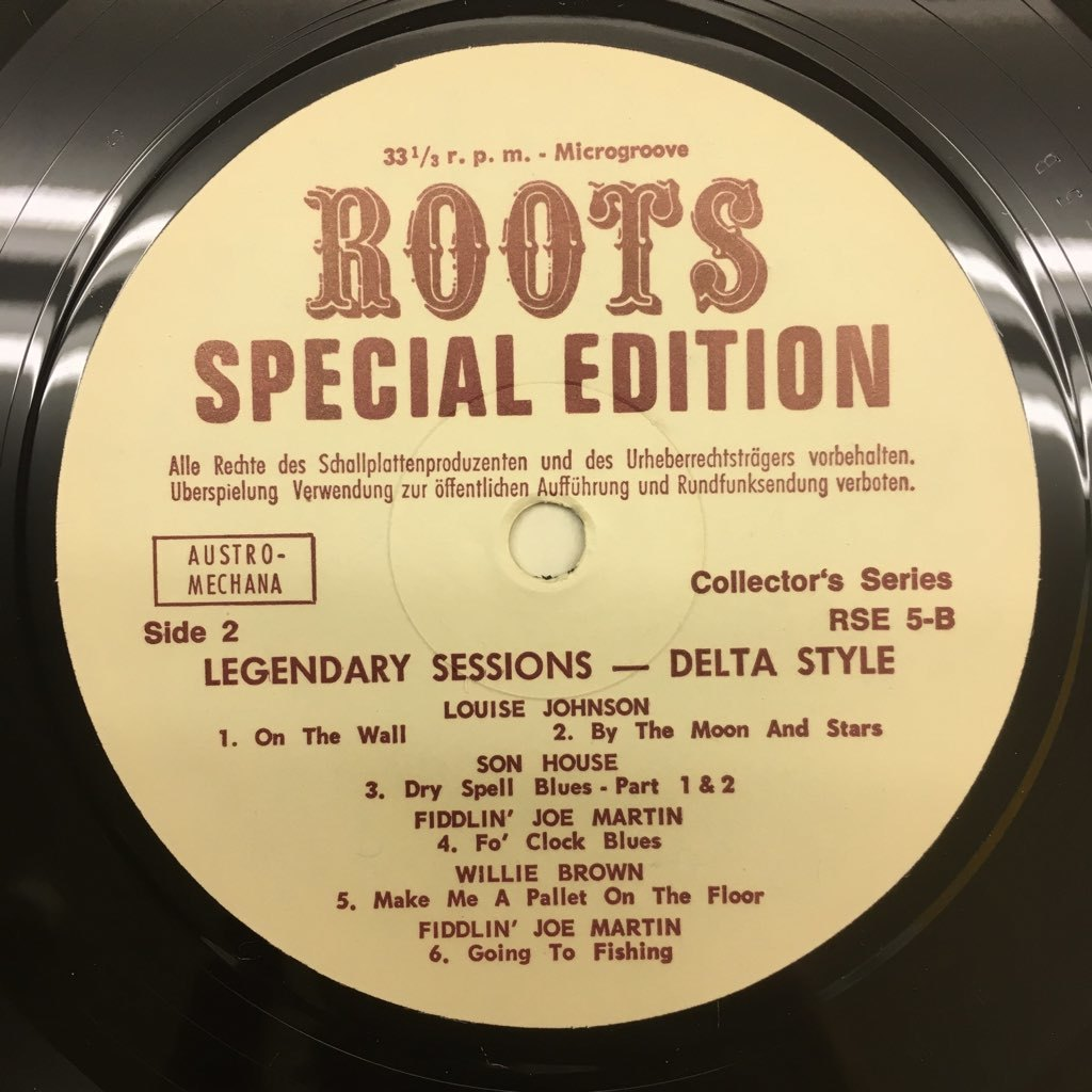 LP Son House, Willie Brown, Louise Johnson / Legendary Sessions Delta Style オーストリアOrig. Roots RSE-5 デルタ・ブルース_画像4
