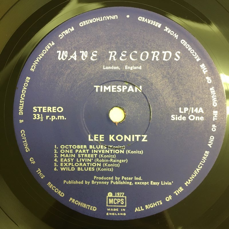 LP Lee Konitz / Timespan UKオリジ Wave LP14 未発表集 コーティング リー・コニッツ_画像3