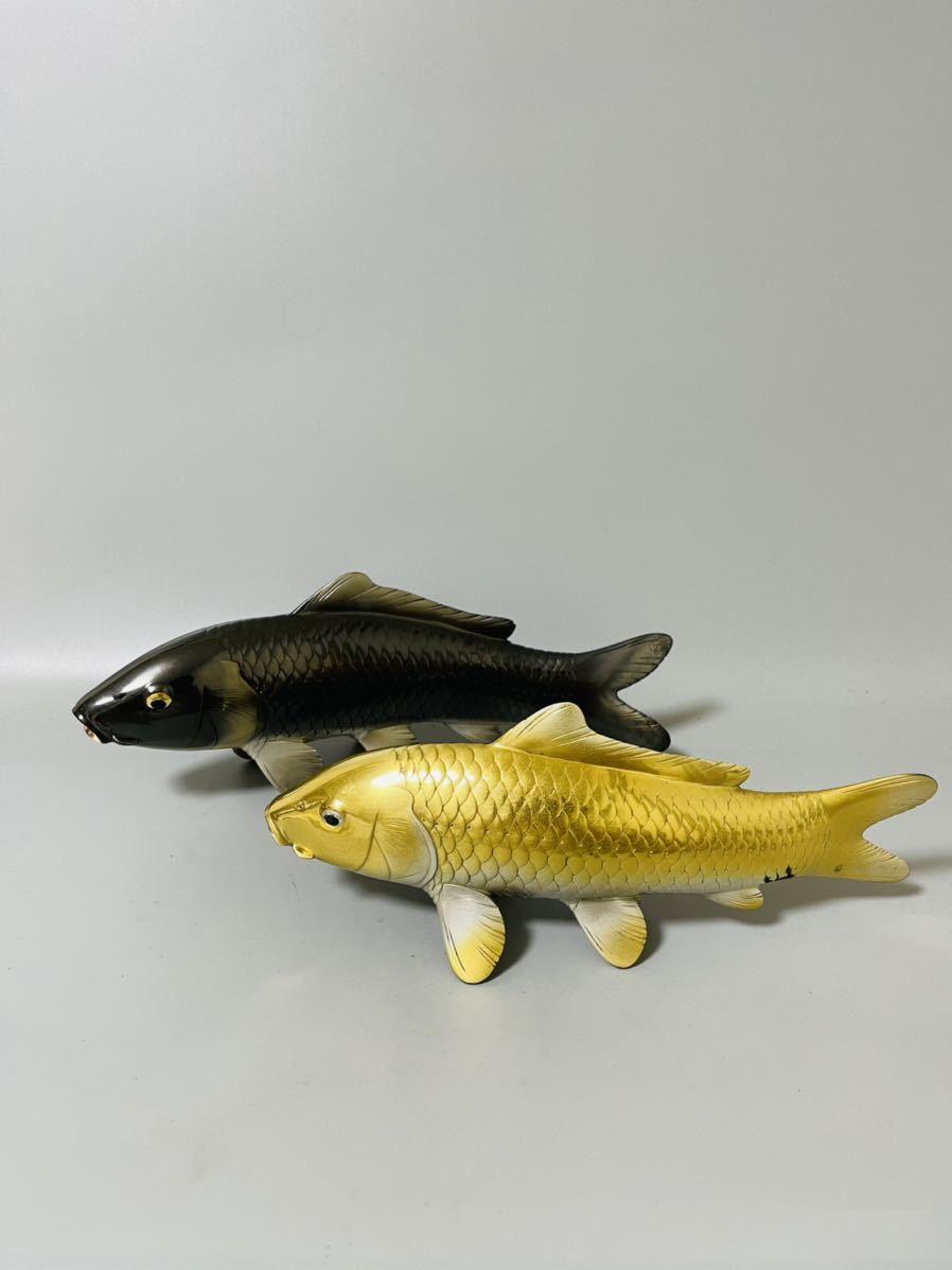 金工 堀 晴伸作 鋳銅 金銀双鯉 置物 金属工芸  鯉重量計2kg