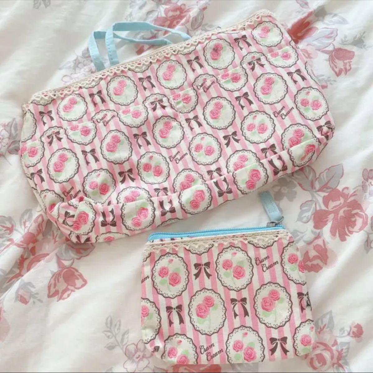 バッグインバッグ ポーチ 薔薇柄 ローズ 収納 整理用品  ハンドメイド  花柄 ファッション レディース バッグ 整理 収納