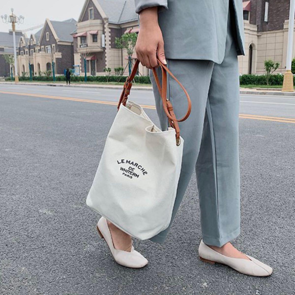 キャンバスバッグ  トートバッグ ショルダーバッグ 韓国 通学 ブラウン 白 ポーチ ベジバッグ