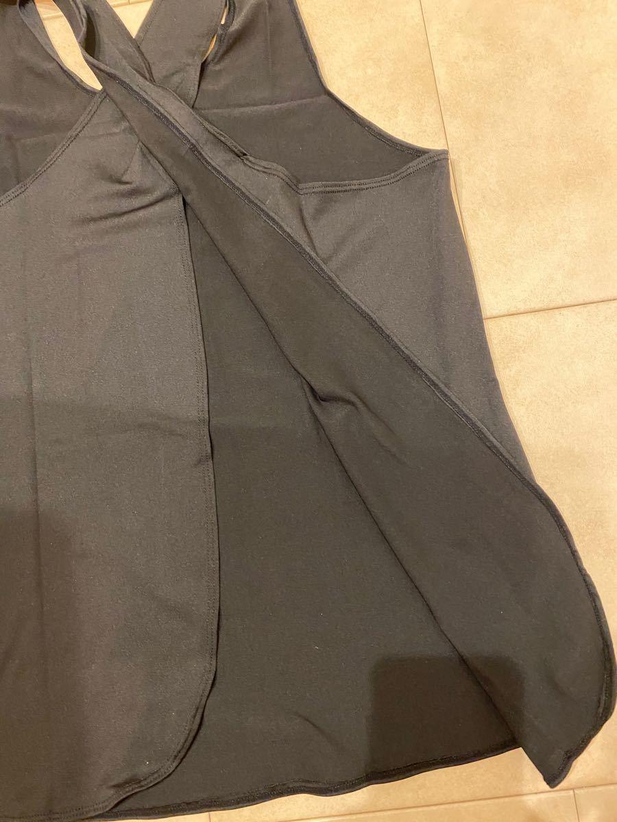 S ブラック ヨガウェア スーポーツジム ランニング ウエア トップ クロスバック