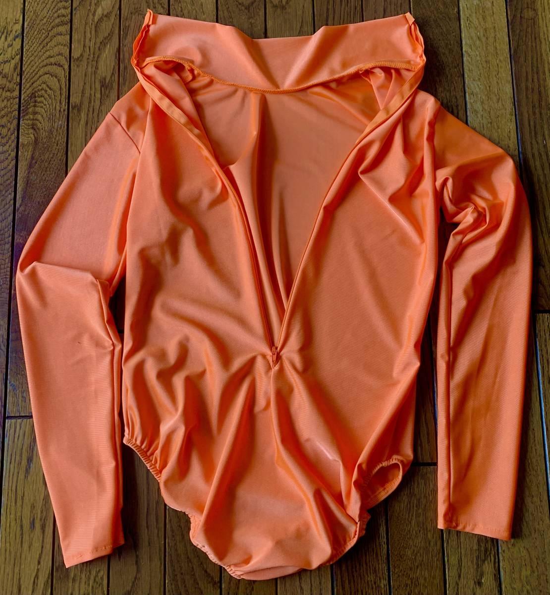Mサイズ光沢橙色ハイネックレオタード長袖バックファスナー。マスク手袋無全身タイツゼンタイと一緒に着ぐるみエアロビクスヨガズンバにも