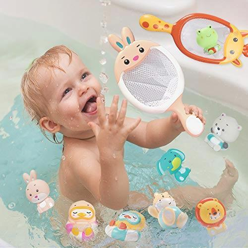 お風呂遊び ウサギ プールトイ 漁網2本 象 お風呂おもちゃ JoyGrow 水遊びおもちゃ 噴水 動物すくい カエル 音出す動物 シャワー _画像6