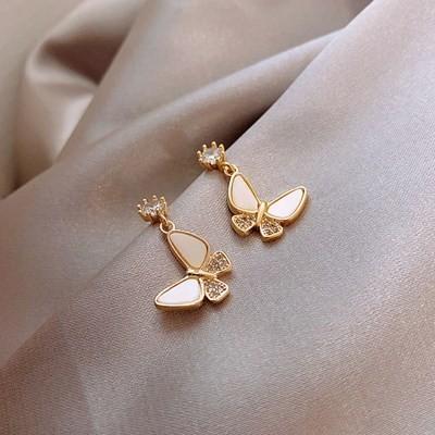ピアス ドロップ 蝶々 クリスタル 新ファッション シルバー メッキ 葉房 女性 結婚式 ファッション 宝石 ギフト #C751-3_画像1