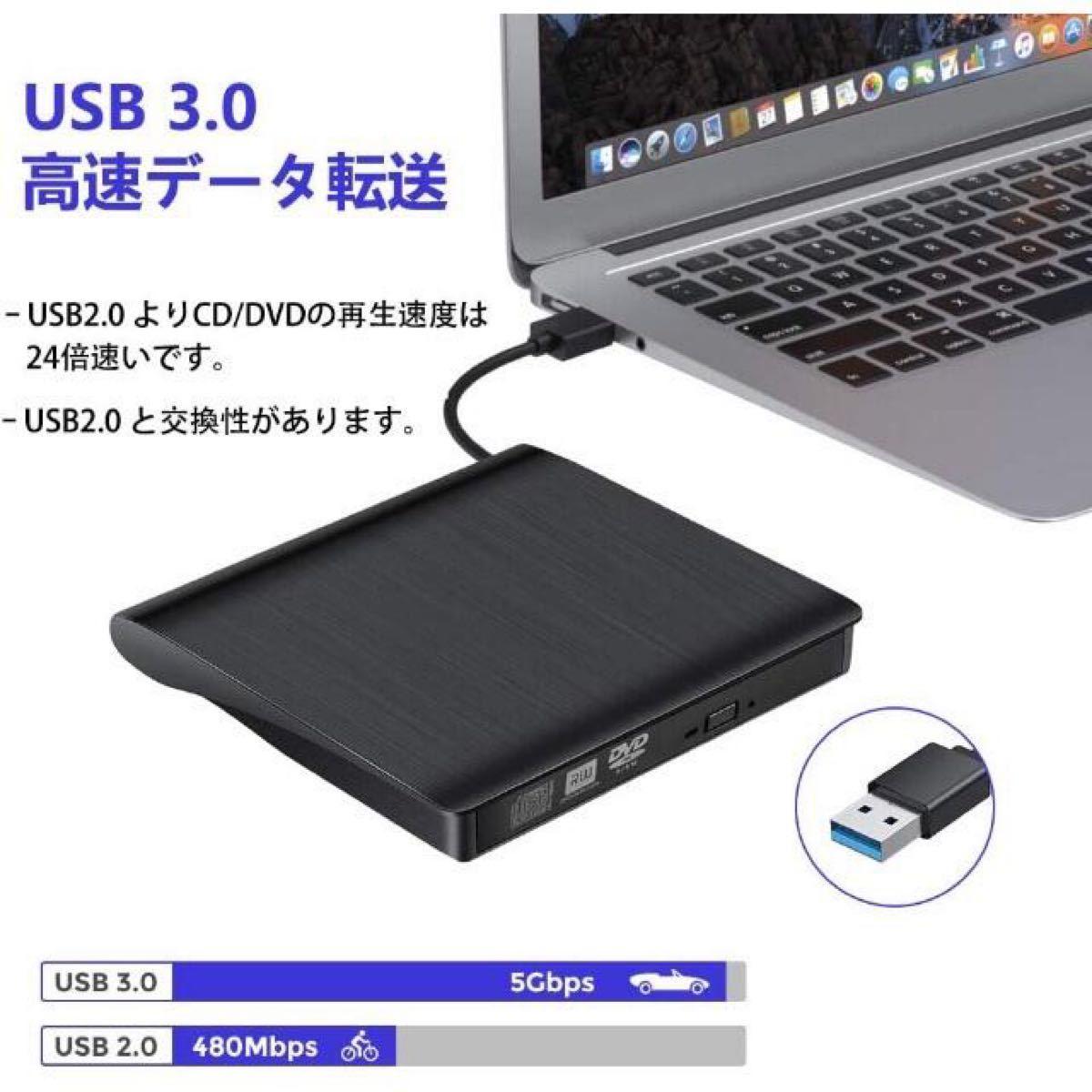 USB3.0 DVD CD-RW 外付けDVDドライブ ポータブル