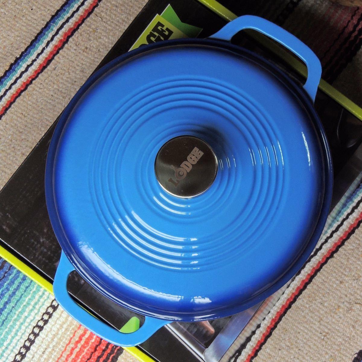 ロッジLODGEエナメルダッチオーブン3qt(2.8L)ブルー琺瑯ホーロー鍋両手鍋IH対応 キッチン 調理器具 正規品