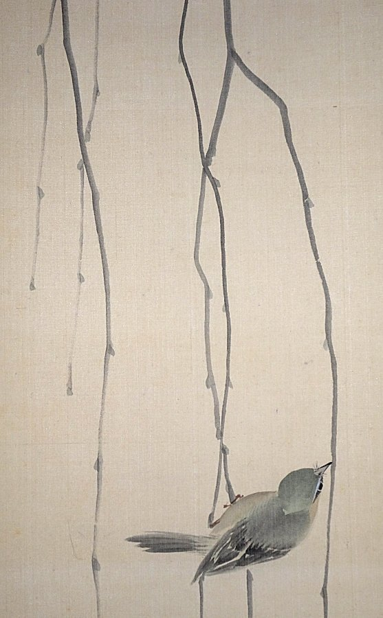 【掛け軸】 中島有章 「枝垂れ木に小禽」 真作 真筆保証 洒落幅 絹本 金襴表装 幕末明治の日本画家 中島来章の子