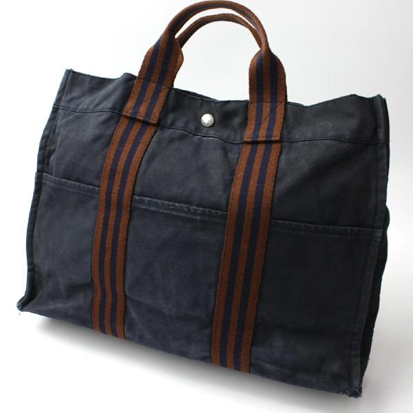 HERMES エルメス フールトゥMM キャンバス トートバッグ ハンドバッグ 手提げかばん 訳あり ネイビー×ブラウン 21-0223bu01 _画像1