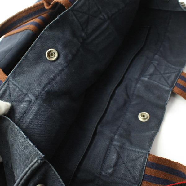 HERMES エルメス フールトゥMM キャンバス トートバッグ ハンドバッグ 手提げかばん 訳あり ネイビー×ブラウン 21-0223bu01 _画像4