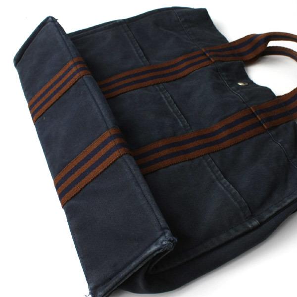 HERMES エルメス フールトゥMM キャンバス トートバッグ ハンドバッグ 手提げかばん 訳あり ネイビー×ブラウン 21-0223bu01 _画像2