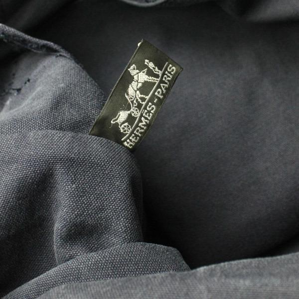 HERMES エルメス フールトゥMM キャンバス トートバッグ ハンドバッグ 手提げかばん 訳あり ネイビー×ブラウン 21-0223bu01 _画像5
