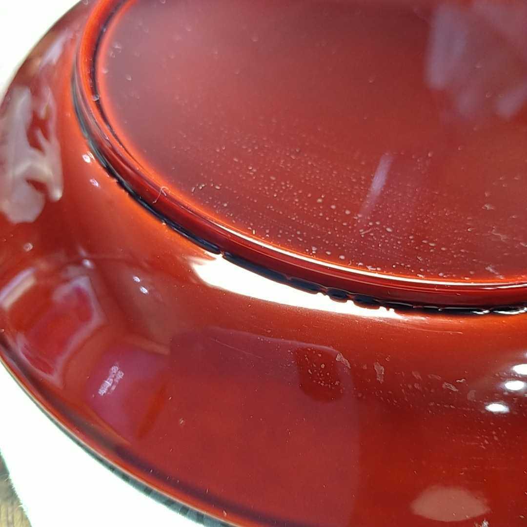 茶道具 干菓子盆 19.5cm 溜塗り 渦巻金彩 _画像5