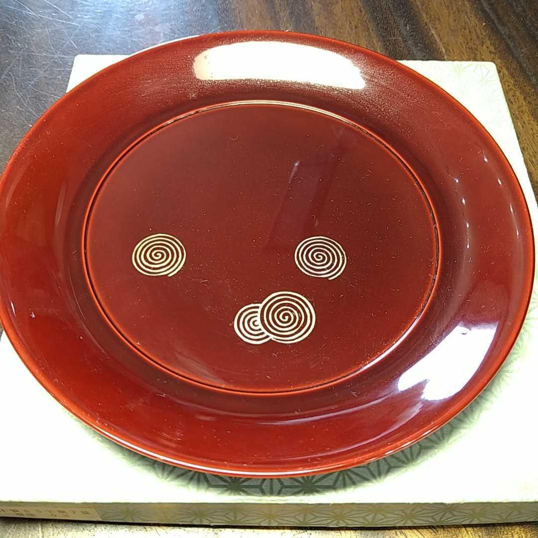 茶道具 干菓子盆 19.5cm 溜塗り 渦巻金彩 _画像1