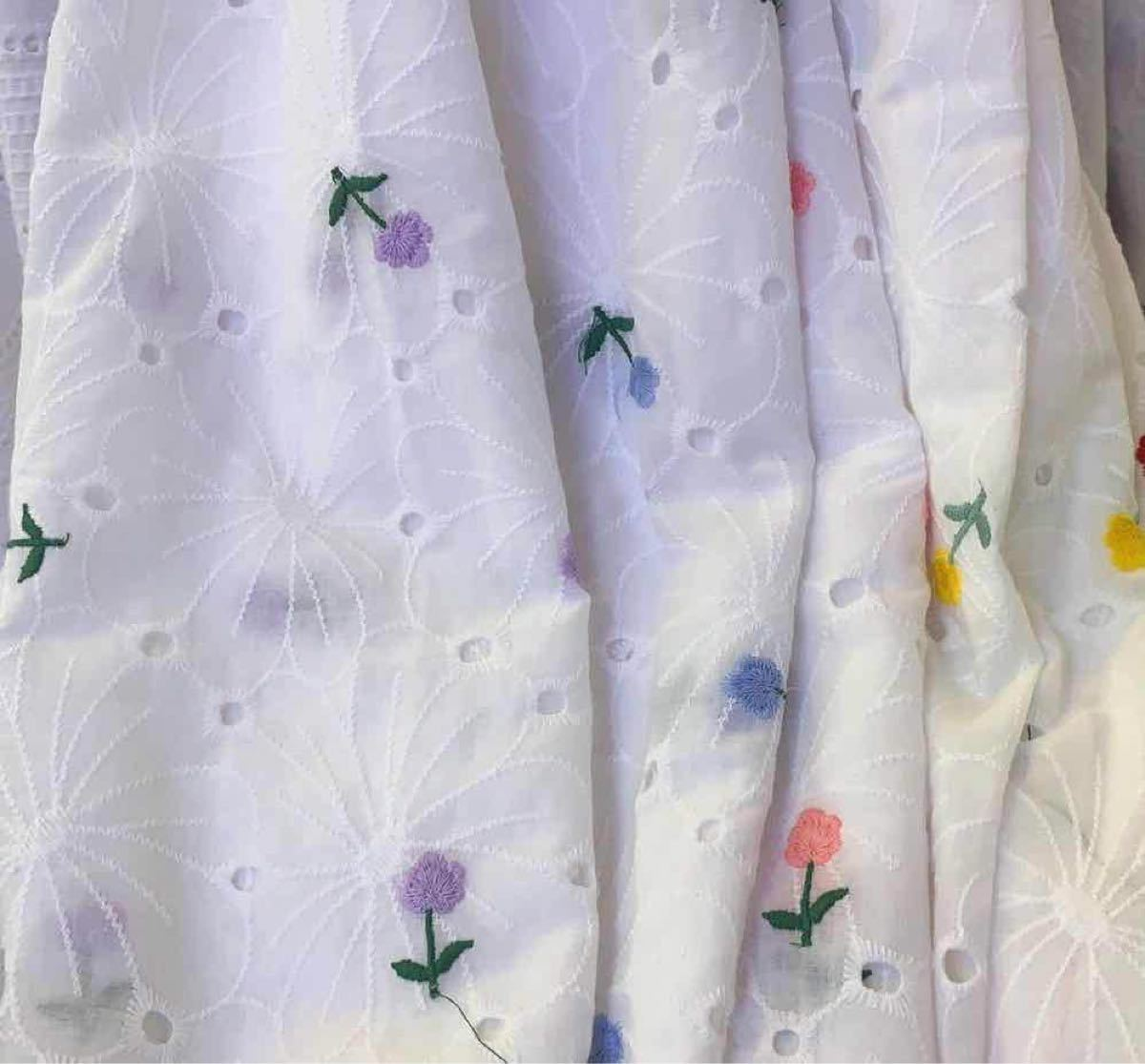 A003 綿100% カット 花柄 刺繍 綿レース生地130cm*50cm