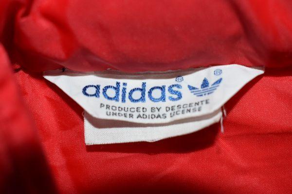 ☆古着 adidas アディダス トレフォイル 三つ葉マーク ウィンドブレーカー ナイロンジャンパー フード付き 袖ライン レッド赤【S】◆2894◆_画像4