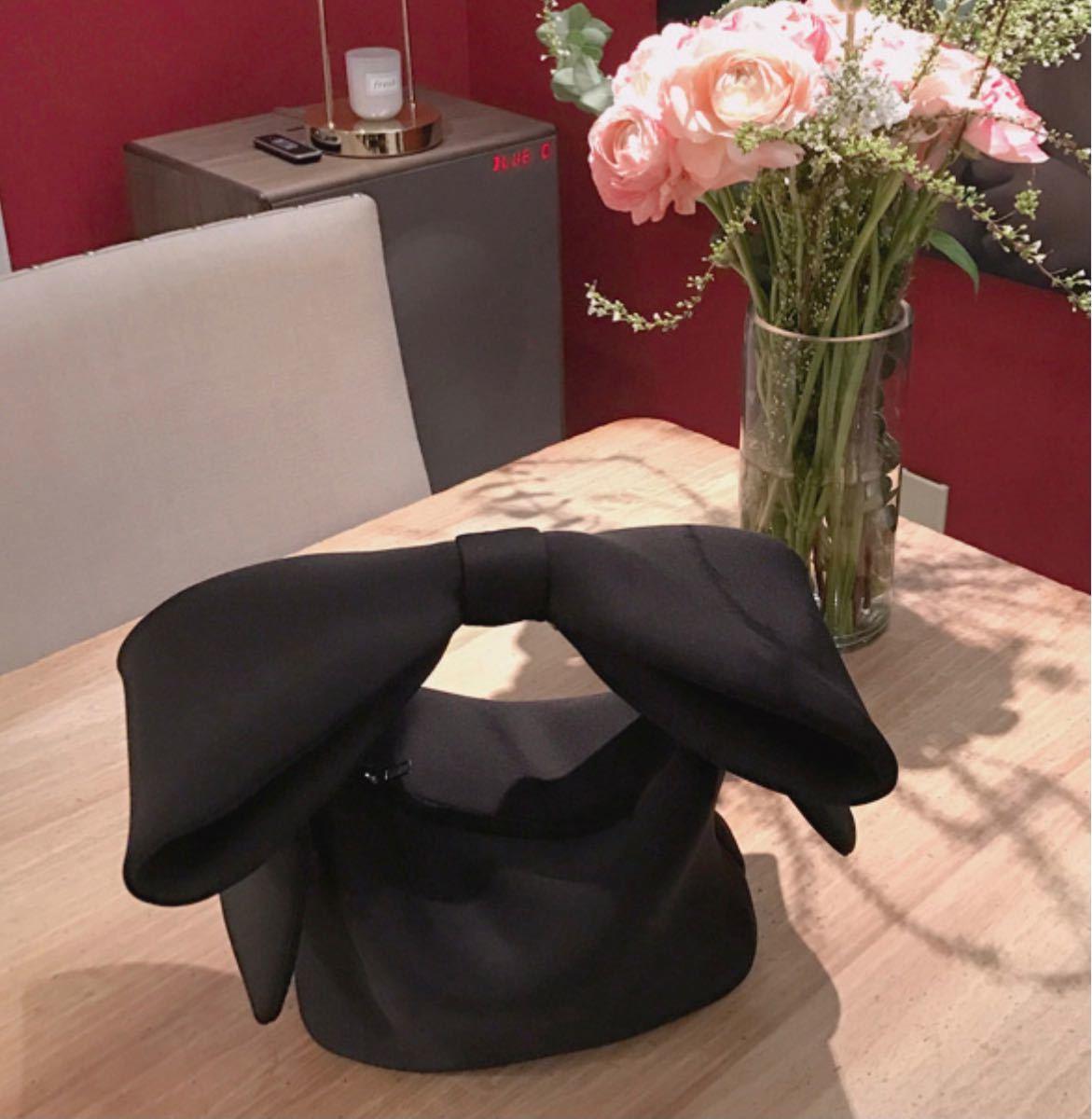 バッグ リボン ブラック 黒 ハンドバッグ ショルダー レディース オルチャン ビッグリボン オルチャン 韓国 大人コーデ