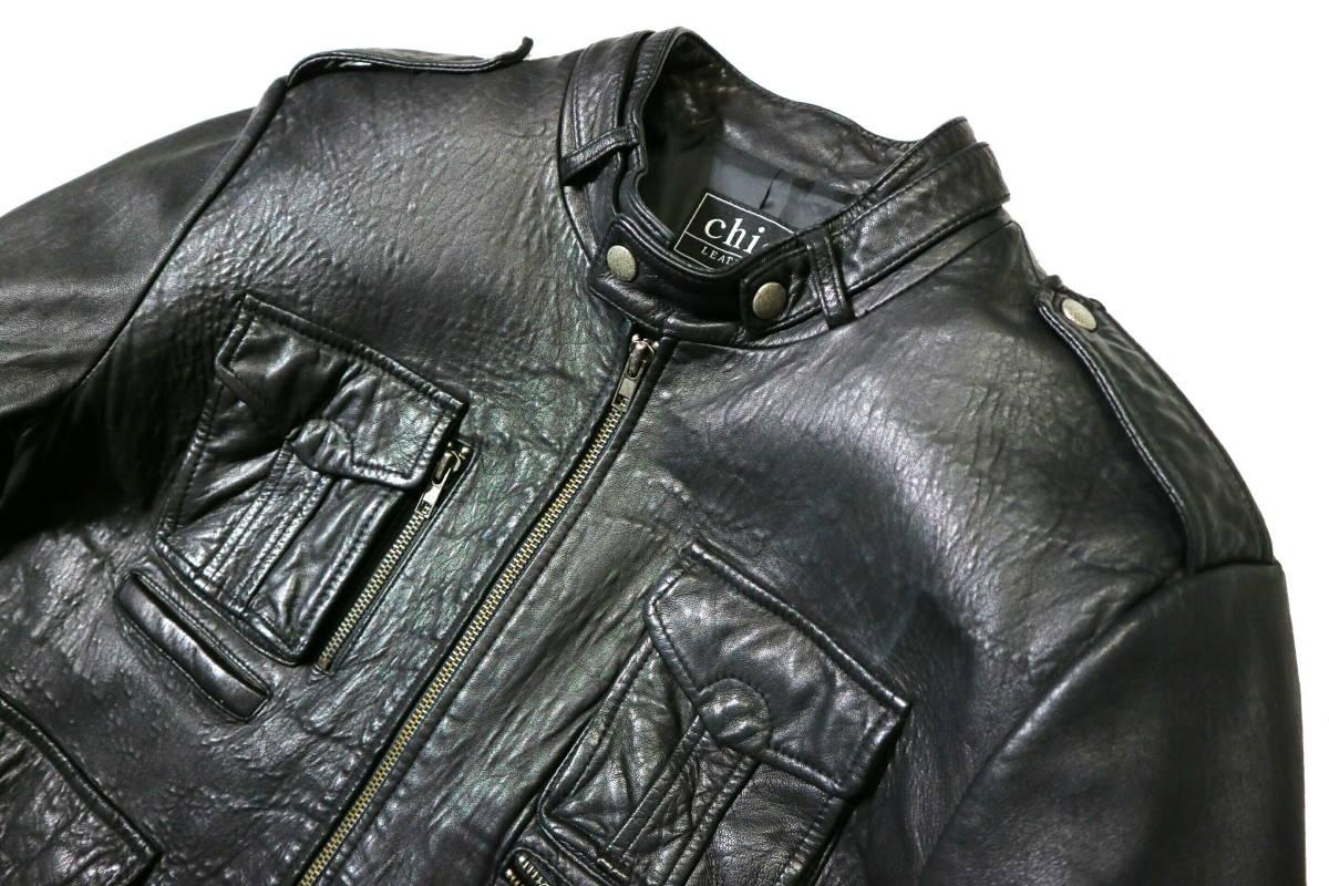 かなり良好/春秋レザー!◆韓国製 Chic Leather 羊革 レザージャケット◆Lサイズ相当(身長175-177センチ位)_画像3