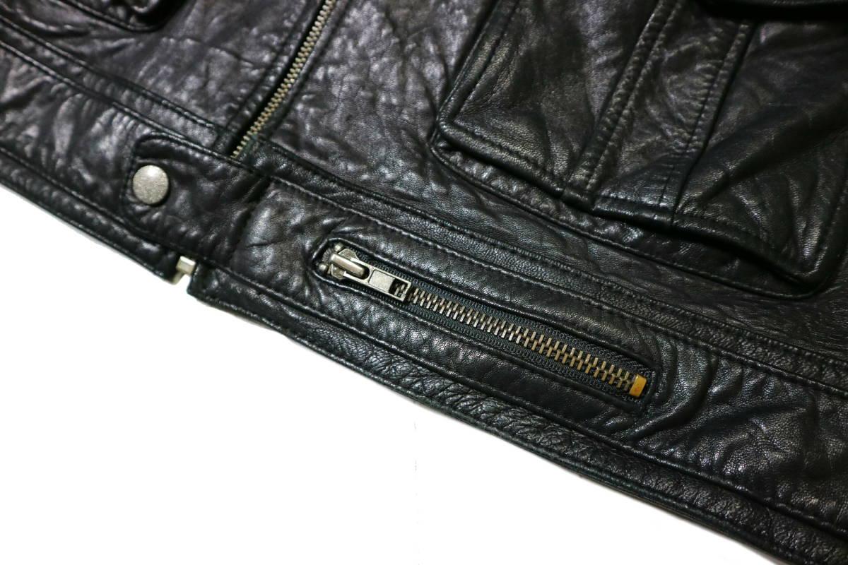 かなり良好/春秋レザー!◆韓国製 Chic Leather 羊革 レザージャケット◆Lサイズ相当(身長175-177センチ位)_画像5