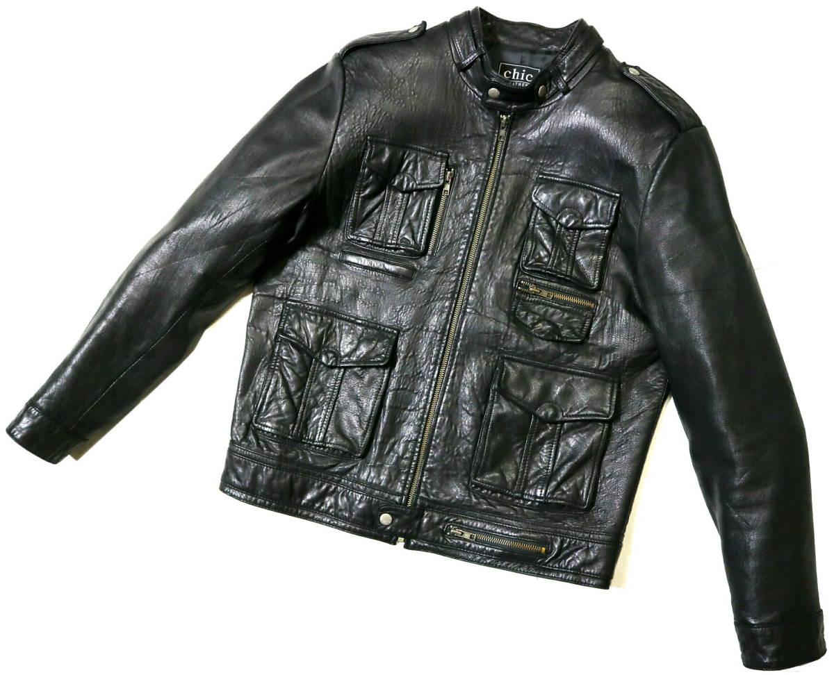 かなり良好/春秋レザー!◆韓国製 Chic Leather 羊革 レザージャケット◆Lサイズ相当(身長175-177センチ位)_画像1