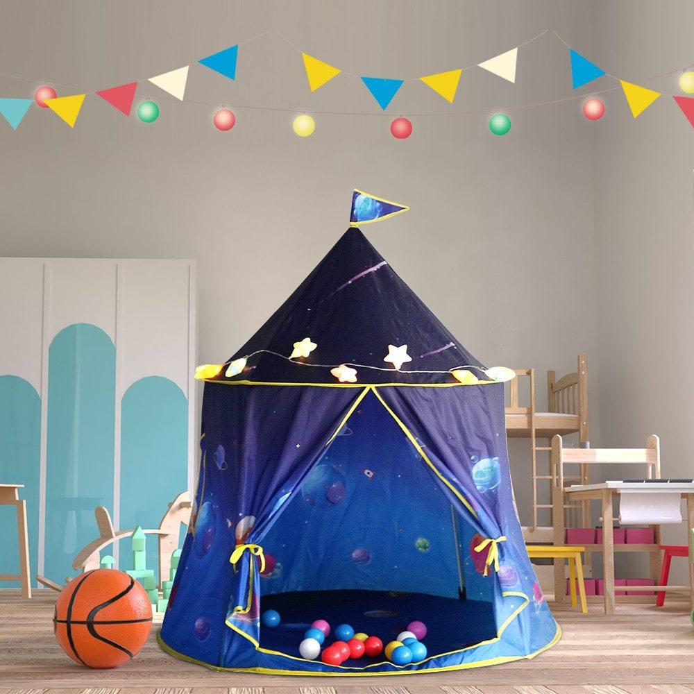 折り畳み 子供 遊び プリンセス城 屋外 ルーム 装飾 おもちゃ 女の子 青 stars L テント キャンプ アウトドア_画像2