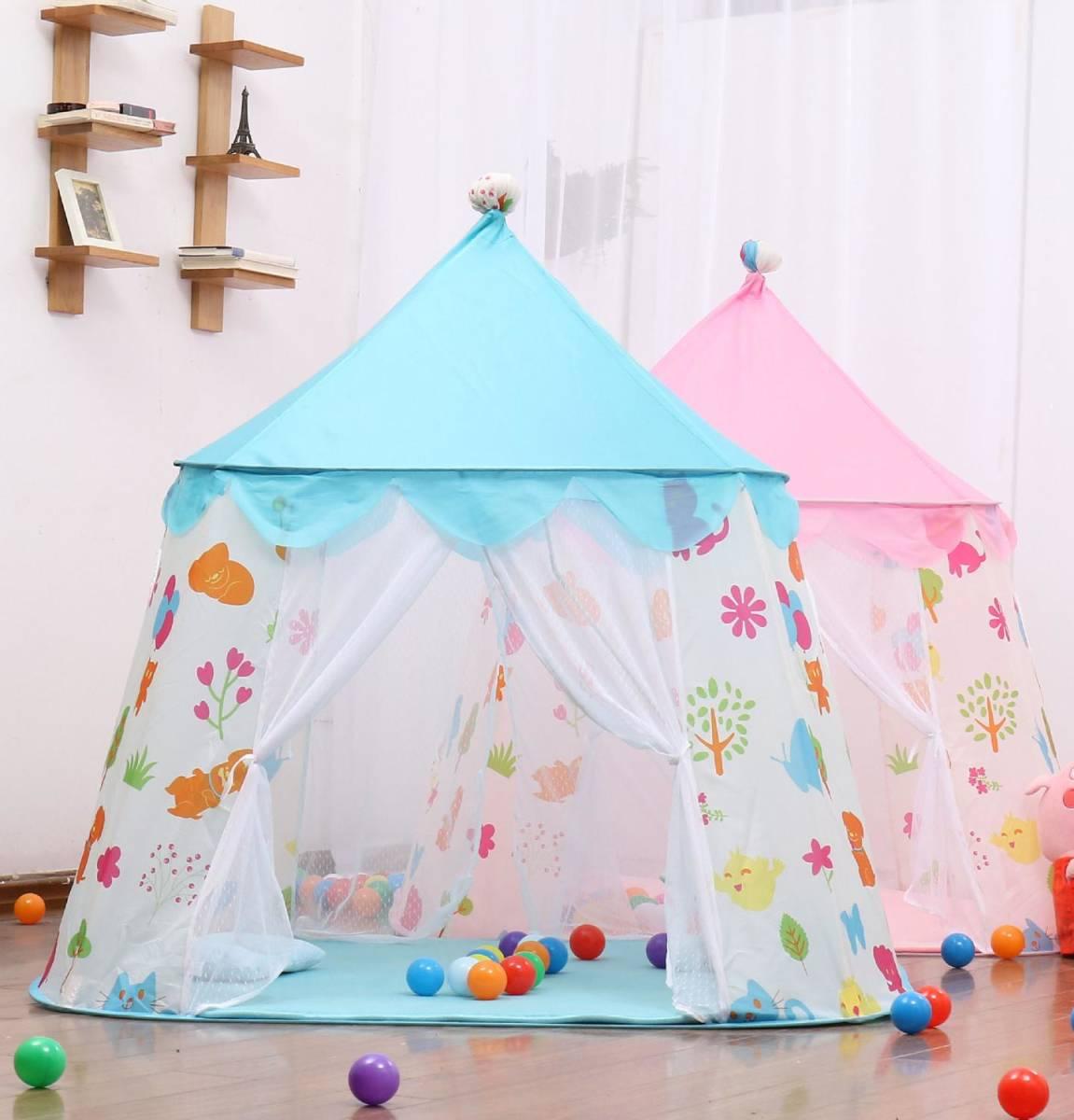 子供 ティピ キッズ 屋内 ベッド 家 ポータブル リトル ハウス ティーピー GR0023A青 テント キャンプ アウトドア_画像3