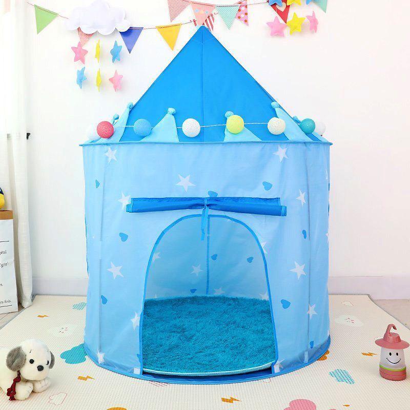 ポータブル 子供 ティピ キッズ ハウス ウィグワム 女の子 屋外 ティーピー ゲーム テント Tipi 青 テント キャンプ アウトドア_画像5